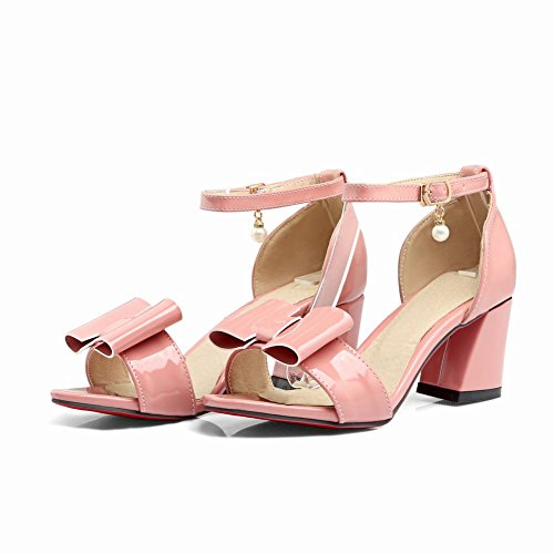 Mee Shoes Women's Sweet High Heel Block Heel Bow Upper Buckle Ankle Strap Sandals Shoes Pink CUek0219