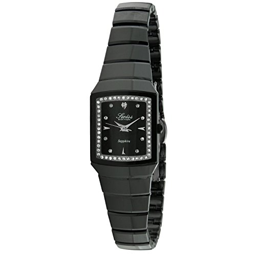 Swiss Edition Women's Luxury Black Genuine Ceramic Crystal Bezel Black Dial Dress Watch ()