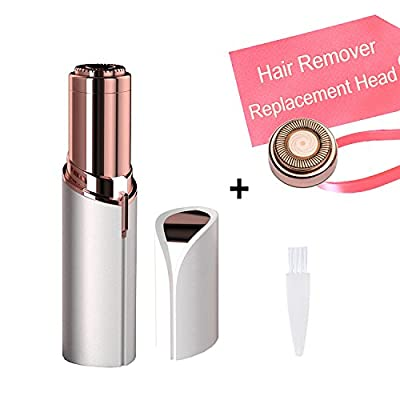 Women's Flawless Hair Remover with 1 Replacement Head Ladies Lipstick Shaving Device Built in Light Electric Cordless Facial Hair Razor Bikini Trimmer on Upper Lip Chin Cheeks AS SEEN ON TV