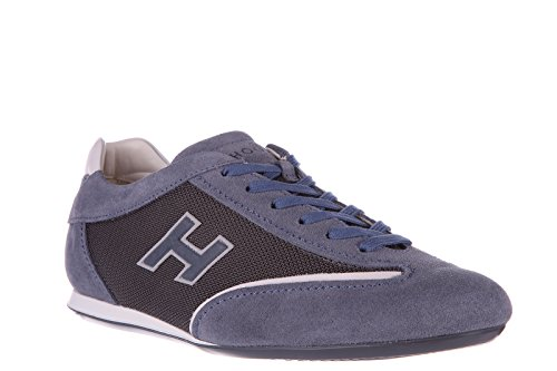 Hogan chaussures baskets sneakers homme en daim olympia slash h flock blu