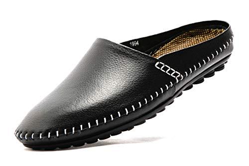 (FLSHO Men's Genuine Leather Slippers Handswen Causal Slip On Shoes Fashion Backless Black Loafers Office Slippers Size 11 FLS-1994HEI110)