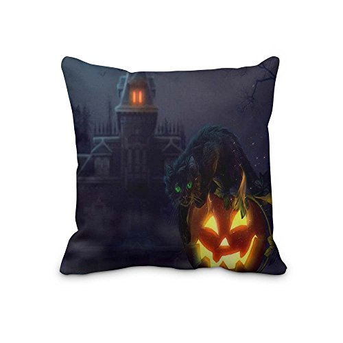 Holiday Halloween Square Zippered Throw 18x18 pillow Cushion (Silver Lake Halloween 2017)