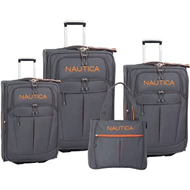 Nautica Luggage Helmsman 4 Pc Set, Grey/orange, One Size
