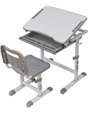 USELUCK Kids Desk Chair Set, Height Adjustable Ergonomic Children Study Table Students Workstation, with Tiltable Anti-Reflective Tabletop and Pull-Out Drawer for School Boys & Girls Homeschooling