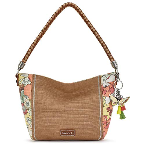 Canvas And Leather Signature Hobo Bag - Sakroots Elsa Small Hobo, Sunlight Flower Power