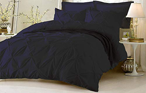 Kotton Culture Pinch Pleated Duvet Cover Set 3 Piece with Zipper & Corner Ties 100% Egyptian Cotton 600 Thread Count Hypoallergenic (1 Duvet Cover 2 Pillow Shams) (Queen/Full, Navy Blue)