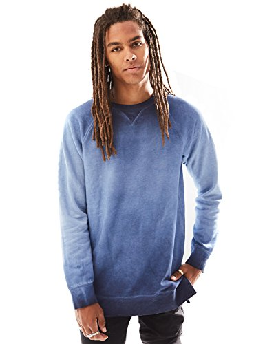 Rebel Canyon Young Men's Long Sleeve Crewneck Spray Wash Raglan Longline Sweatshirt