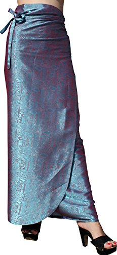 (RaanPahMuang Brand Thick Geometric Stamped Thai Silk Formal Wrap Plus Size Skirt, 3XL, Ball Blue )