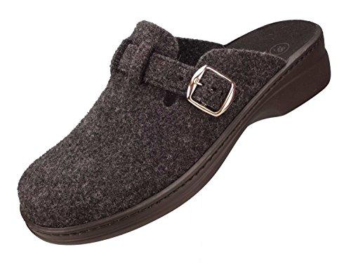 Algemare Damen Clog Hausschuh aus Filz mit waschbarem Sani-pur Wechselfußbett Pantolette 5932_2323 Sandalette , Größe:39