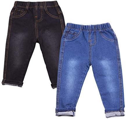 キッズ 子供 デニムパンツ ストレッチ素材 男の子 女の子 ジーンズ ジーパン パンツ 2枚セット (ブラック, ネイビー)
