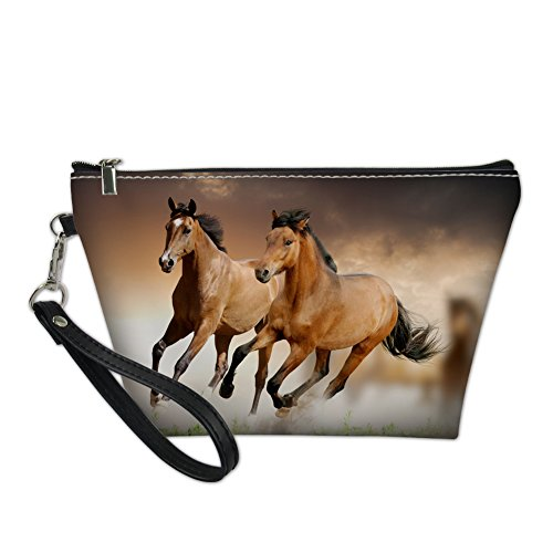 (HUGS IDEA Horse Print Protable Handle Makeup Bag Leather Waterproof Cosmetic Bag for Teen Girl)