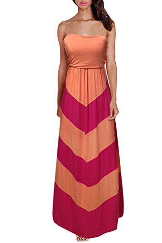 Womens Strapless Empire Waist Chevron Zia Zag Boho Maxi Dress XL Orange