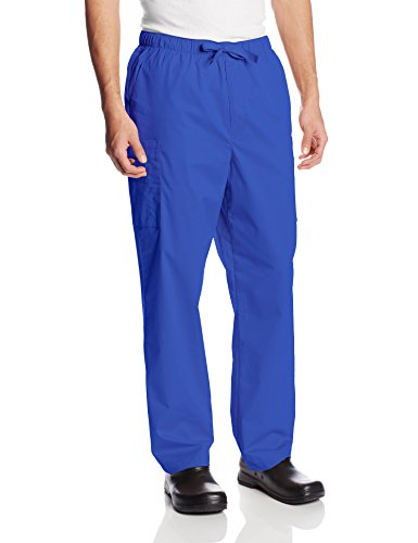 (Cherokee Ww Core Stretch Men's Drawstring Cargo Scrub Pant, Galaxy Blue, Large)
