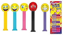 Pez Emojis Dispenser and Candy Refill Bundle (5 Dispensers and 8 PEZ CandyRefills)
