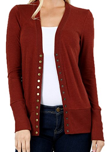 JNTOP Women's Snap Button Cardigan Sweater Rust Small by JNTOP