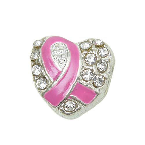 (Monrocco 10Pcs Heart Shape Breast Cancer Awareness Pink Ribbon Charms Beads Dangle Pendant Accessories for Jewelry Making)