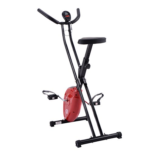Goplus Folding Exercise Bike Cardio Workout Upright Cycling Magnetic Fitness Stationary (Red)