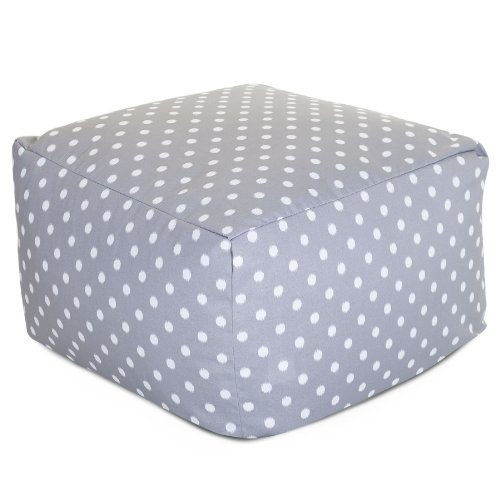 Majestic Home Goods Ikat Dot Ottoman, Large, Gray - Dot Patio Furniture