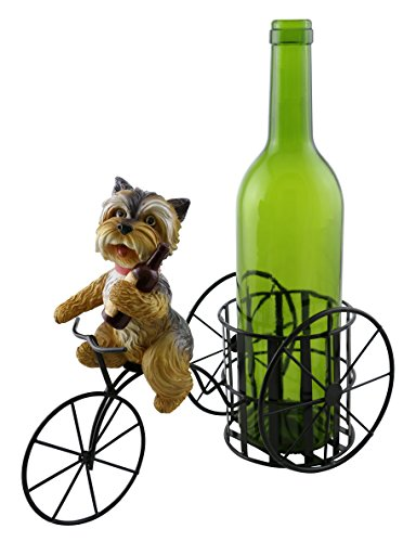 Kitchen Decor Yorkshire Terrier Yorkie Dog On Bicycle Tricycle Wine Bottle Holder Figurine Statue