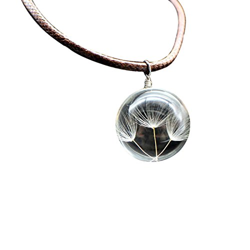 JJTZX Wish Necklace Real Dandelion Seeds Encased in Glass With Leather Chain Dandelion Necklace for Women (3 Seeds)
