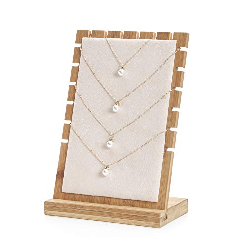 Display Necklace Stand Pendant - Bocar Bamboo Jewelry Display Stand Showcase Pendant Necklace (ZZ-1-beige)