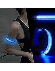 Brazalete LED, Purplecrystal LED Brazalete de Correr con 3 Modos de Iluminación, Pulseras Ajustables para Hombres y Mujeres, Luces de sSguridad Nocturnas para Correr, Trotar, Ciclismo, Senderismo