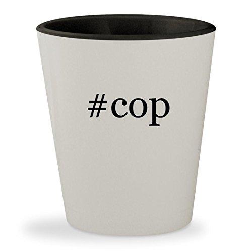 #cop - Hashtag White Outer & Black Inner Ceramic 1.5oz Shot Glass