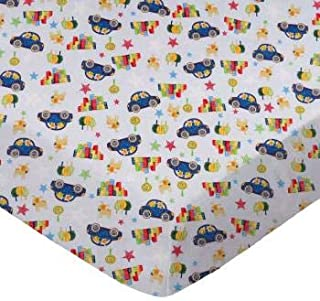 product image for SheetWorld 100% Cotton Percale Flat Crib Toddler Sheet 28 x 52, Cars & Dogs, Made in USA