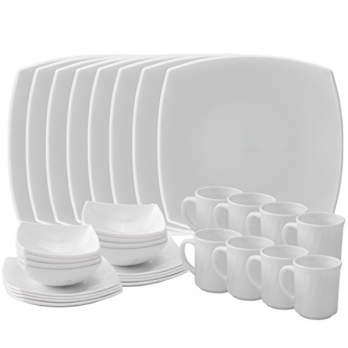 Matashi 32-Piece Opal Glassware Dinner Set - Break Resistant