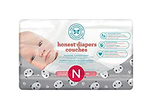 The Honest Company Disposable diapers, pandas print polybag, newborn, 40 Count