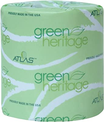 """Green Heritage 248 Bathroom Tissue, 2-Ply, White,  4.1"""" Length x 3.1"""" Width, 400 Sheets (Case of 96)"""