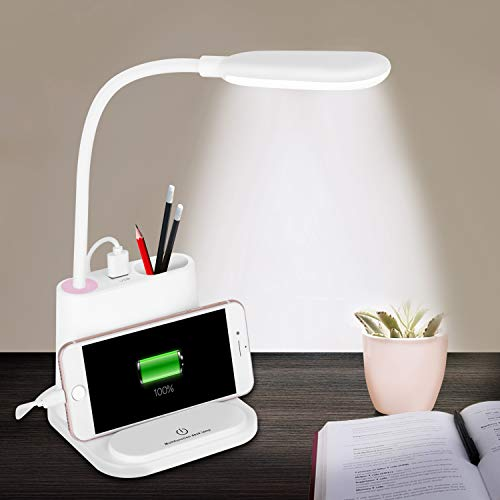 NovoLido Rechargeable Led Desk lamp with USB Charging Port, 4 in 1 Multi-Function, 360° Flexible Metal Hose, 2 Color Modes & Stepless Dimming, Touch Control Table Lamp for Kids Bedroom Reading, White