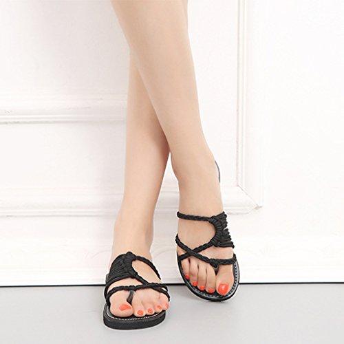 Nylon Boemia Shoes Piatte Flip Donna Romani Flop Scarpe Spiaggia Casual Minetom Estiva Sandali Toe Peep Intrecciati Nero Moda Eleganti 7Z1zwxO