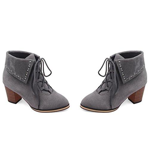 COOLCEPT Damen Vintage Schnurung Booties Blockabsatz Stiefel Schuhe Grey