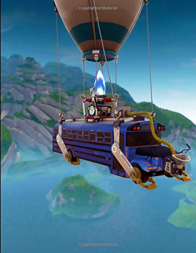 Fortnite - Battle Bus Balloon Notebook: Wide Ruled Writer's Composition Notebook for School, Office, or Home! -