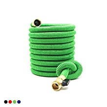 Deke Home Expandable Garden Hose 50Ft Extra Strong Reel. Brass Connectors with Protectors 100% No-Rust & Leak. Best Water Hose for Pocket Use. 100% Flex Expanding 50 ft (Green)