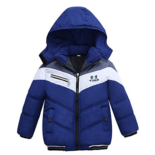 Sunbona Toddler Baby Boys Autumn Winter Down Jacket Coat Warm Padded Thick Outerwear Clothes (5T(3~4years), Blue)