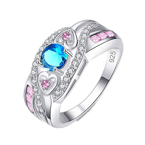 Silver 925 Plated Rings for Women Multicolor Wedding Engagement Pink Crystal Heart Ring Women Jewelry -