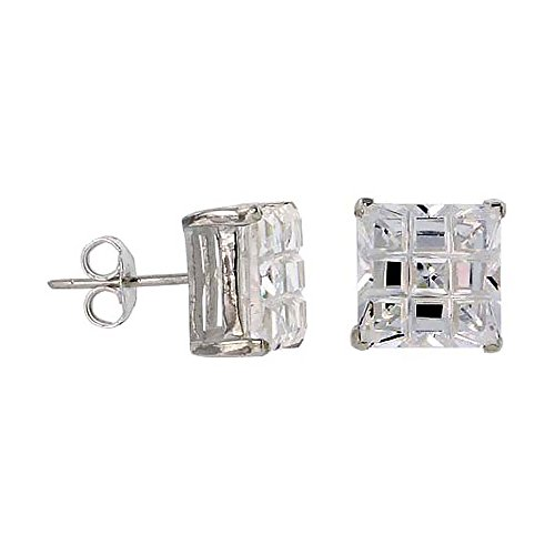 Sterling Silver Cubic Zirconia Invisible Cut Square Earrings Studs 10 mm Basket Set 11 carat/pair