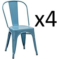 Duhome WY-666 4 PCS Stackable Metal Dining Chair Restaurant Cafe Kitchen Indoor Outdoor (Blue)
