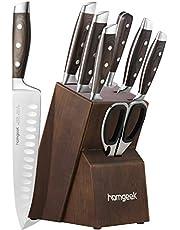 homgeek Couteaux de Cuisine, Bloc de Couteaux, German Stainless Steel Lot de Couteaux avec Support en Bois, 8 Pièces