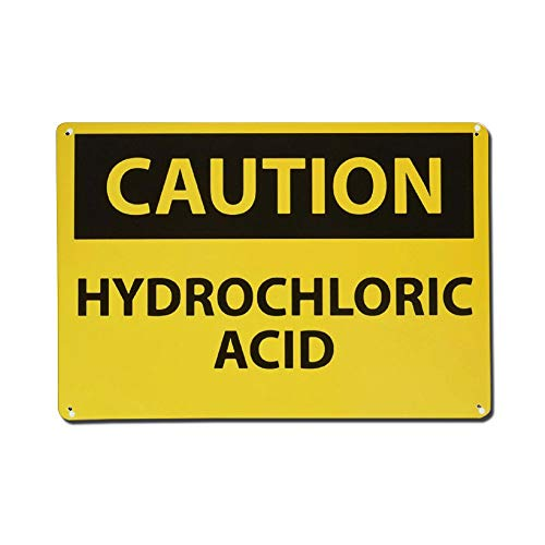 Caution Hydrochloric Acid Aluminum Sign Metal Sign Reflective for Indoor Or Outdoor Use Size 12