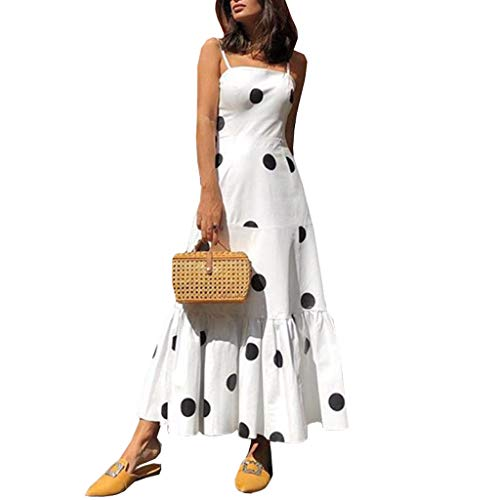 Women Summer Spaghetti Strap Ploka Dot Printed Ruffle Long Maxi Party Beach Dresses (White, M)
