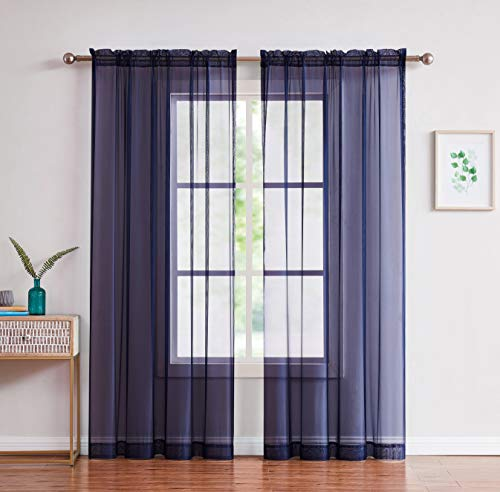 "Amazing Sheer - 2-Piece Rod Pocket Sheer Panel Curtains Fabric Sheer - Voile Curtains for Window Treatment - Natural Light Flow (56"" W x 96"" L - Each Panel, Navy)"