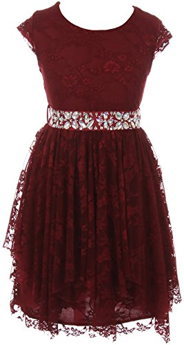 Big Girl Short Sleeve Floral Lace Ruffles Holiday Party Flower Girl Dress Burgundy 10 JKS 2095