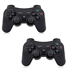 PS3 Controller Wireless 2 Pcs Double Shock Gamepad for Playstation 3, Sixaxis wireless PS3 Controller with Charging Cable (2 Black)