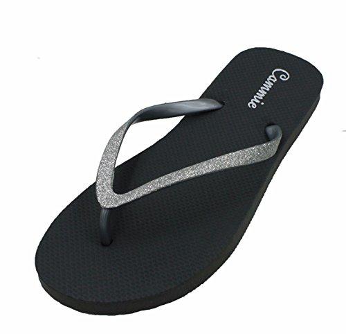 Kvinners Flip Flop Med Glitter Stropper Og Comportable Såle, Kult Å Se Style_grey_9