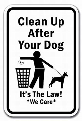 Ufcell Wall Art Decor Clean Up After Your Dog It's The LawWe Care Sign Warning Tin Signs Metal Sign Notice Safety Security Sign Street Decor 12x16