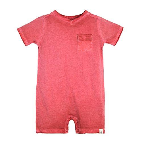 Baby Boy Bubble - Burt's Bees Baby Organic Short Sleeve Shortall, Red Barn Pigment Dye, 18 Months