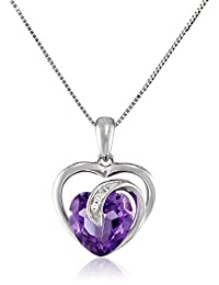 """10k White Gold Gemstone and Diamond Accent Scroll Heart Pendant Necklace, 18"""""""